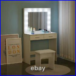 Modern Dressing Table Makeup Desk with LED Light Mirror 2 Drawers Stool Bedroom
