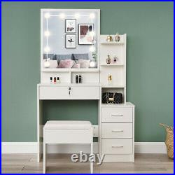 Modern Dressing Table Makeup Desk with LED Light Mirror 4 Drawers Stool Bedroom