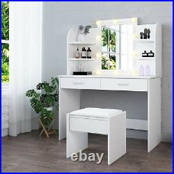 Modern Dressing Table Makeup Desk withLED Lighted Mirror&Drawer Stool Bedroom New