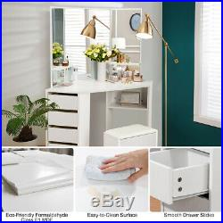 Modern White Dressing Table Jewelry Makeup Desk with 3 Mirror & 5 Drawer Bedroom