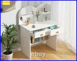 Modern White Dressing Table Jewelry Makeup Desk with Large Mirror & Drawer Bedroom