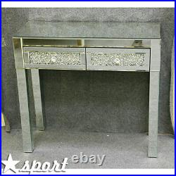 New Mirrored Furniture Glass Dressing Table With Drawers Diamond Console Bedroom