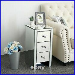 New Mirrored Glass Bedside Cabinets Tables Crystal Chest Nightstand Bedroom UK