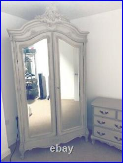 Normandy 2-Door Mirrored French Armoire Wardrobe The French Bedroom Company