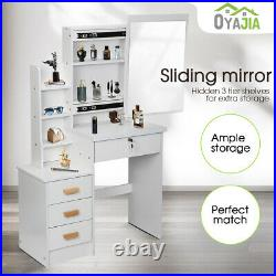 Oyajia Dressing Table Stool Bedroom Vanity Sets Makeup Desk with Mirror & 4 Drawer