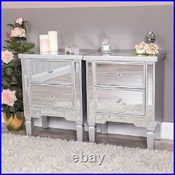 Pair of Silver Mirrored Bedside Tables Chest Bedroom Furniture Venetian Unit