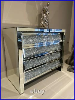 Quality Large Mirrored Chest Drawers Crushed Diamond Crystal Bedroom Furniture