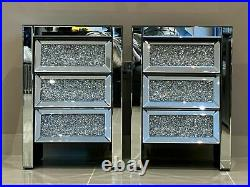 Quality Mirrored Bedroom Set Large Crushed Diamond Chest of Drawers Bedside