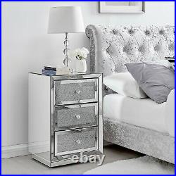 STELLA Mirrored Crystal Bedside Bed Side Table Cabinet 3 Draws Bedroom Cabinet