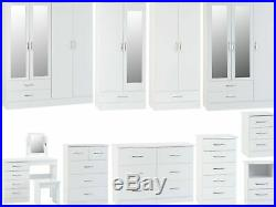 Seconique Nevada White High Gloss Bedroom Range Wardrobes Chest Bedsides