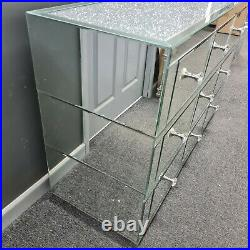 Silver Diamond Glitz Mirrored Glass 9 Drawer Chest of Drawers Bedroom Furniture