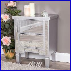 Silver Mirrored Bedside Table Chest Venetian Bedroom Furniture Glass Cabinet