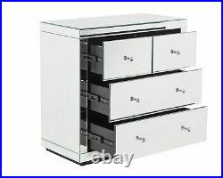 Silver Mirrored Chest Of Drawers 4 Drawers Venetian Bedroom Furniture Chest