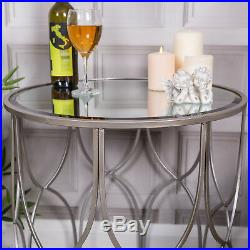 Silver Mirrored Lamp Side Table Lounge Hallway Vintage French Chic Bedroom Home