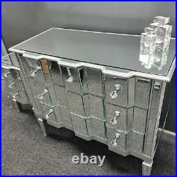 Silver Wood Trim Mirrored Glass Chest of 3 Drawers Mirror Bedroom Furniture