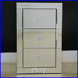 Sparkly Mirrored Furniture 3 Drawer Bedroom With Glass Bedside Cabinet Table-uk
