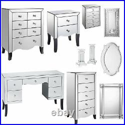 Valentina Mirrored Bedroom Furniture Wardrobe Bedside Dressing Table Mirrors