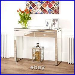 Venetian Mirrored 2 Drawer Dressing Table Hall Console Glass Bedroom VEN66
