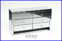 Venetian Mirrored Chest of Drawers 6 Modern Bedroom Furniture Storage Glass New