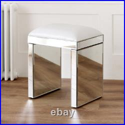 Venetian Mirrored Glass Dressing Table Stool White Seat Pad Bedroom VEN05W