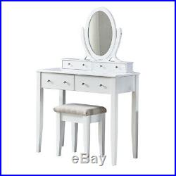 White Bedroom Dressing Table, Makeup Table With Mirror and Stool (4 Drawers)