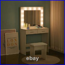 White Dressing Table Makeup Desk With LED Mirror Stool 2 Drawers Bedroom Modern