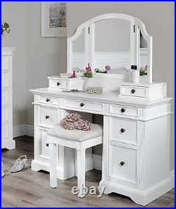 White Dressing Table Set Vanity Table with Mirror Bedroom Furniture GAINSBOROUGH