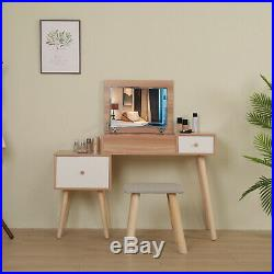 White Dressing Table Set With Mirror&Stool Wooden (2Drawer) Bedroom Makeup Desk