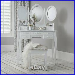 White Dressing Table with 3 Mirrors, 7 Drawers and Stool Set Bedroom Makeup Desk
